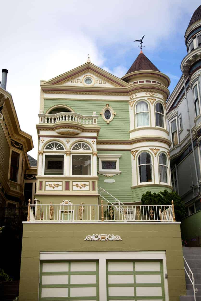 House in Alamo Square, San Francisco with turret. Notice the arched windows on both levels of the turret.