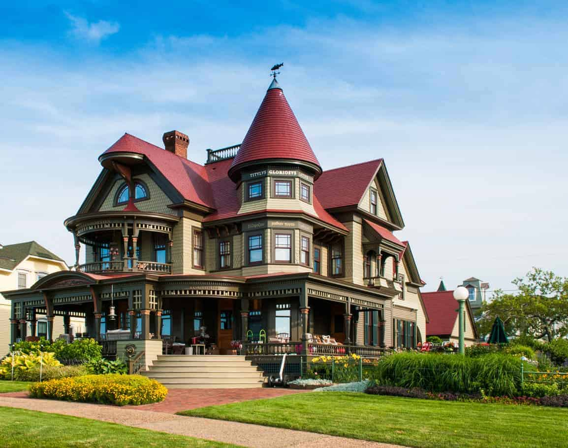 Oak Bluffs, Martha's Vineyard, Massachusetts: The Corbin Norton House (Peter Norton, Norton Utilities/Symantec), totally destroyed by fire in 2001, is pictured here fully restored to its original Queen Anne style residence which was completed in 2004. The towering red-roofed cone turret is a stand-out feature of this incredible example of Queen Anne architecture.