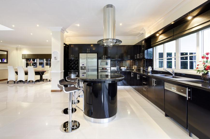 Sleek Ideas For Kitchen Design With Islands: 37 Sleek Black Kitchen Ideas And Cabinets (2019 Photos