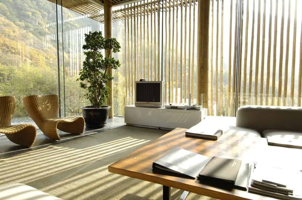 A living room packed with natural lighting from glazed walls.