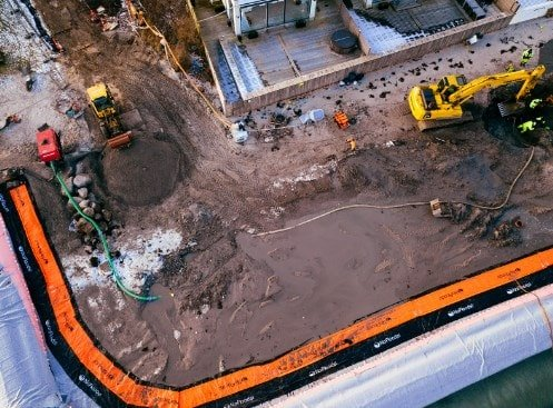 Aerial view of a Transportable Flood Fence Barrier