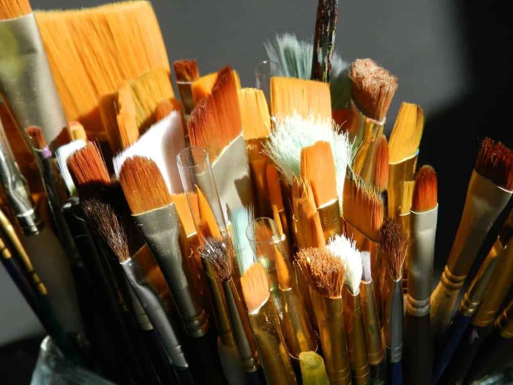 Paintbrushes with nylon bristles.