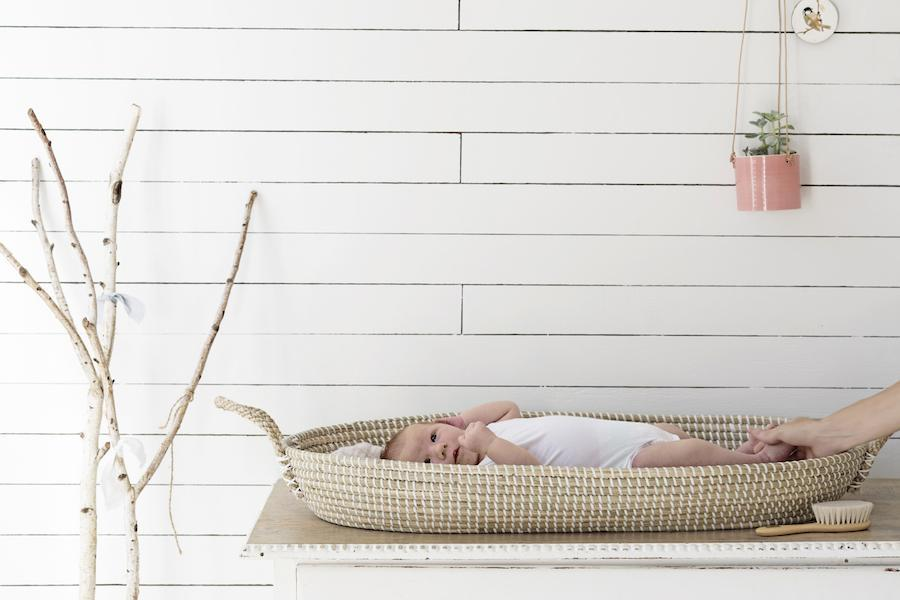A baby lies on a changing basket placed on a flat surface in a room with indoor plants and whitewashed wall panels.