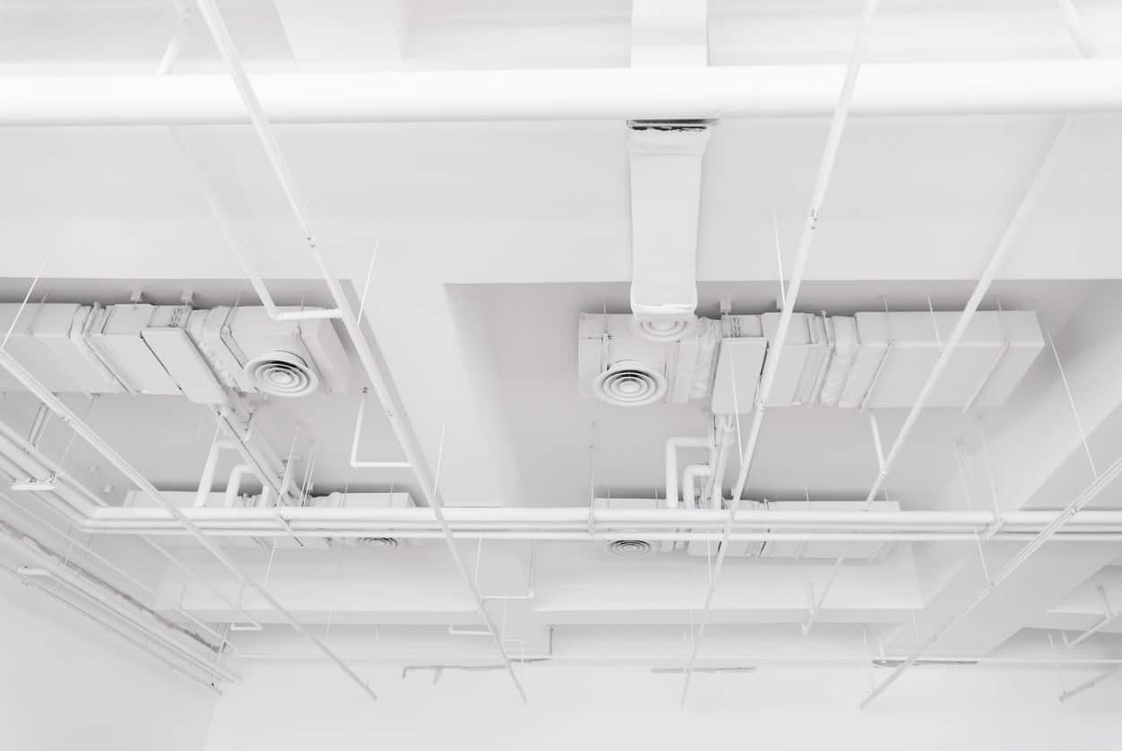Painted pipes ceiling