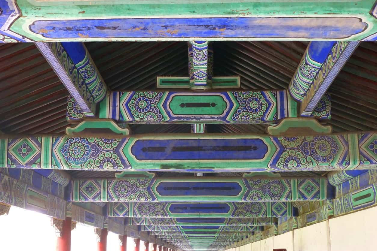 Chinese style ceiling with painted rafters.