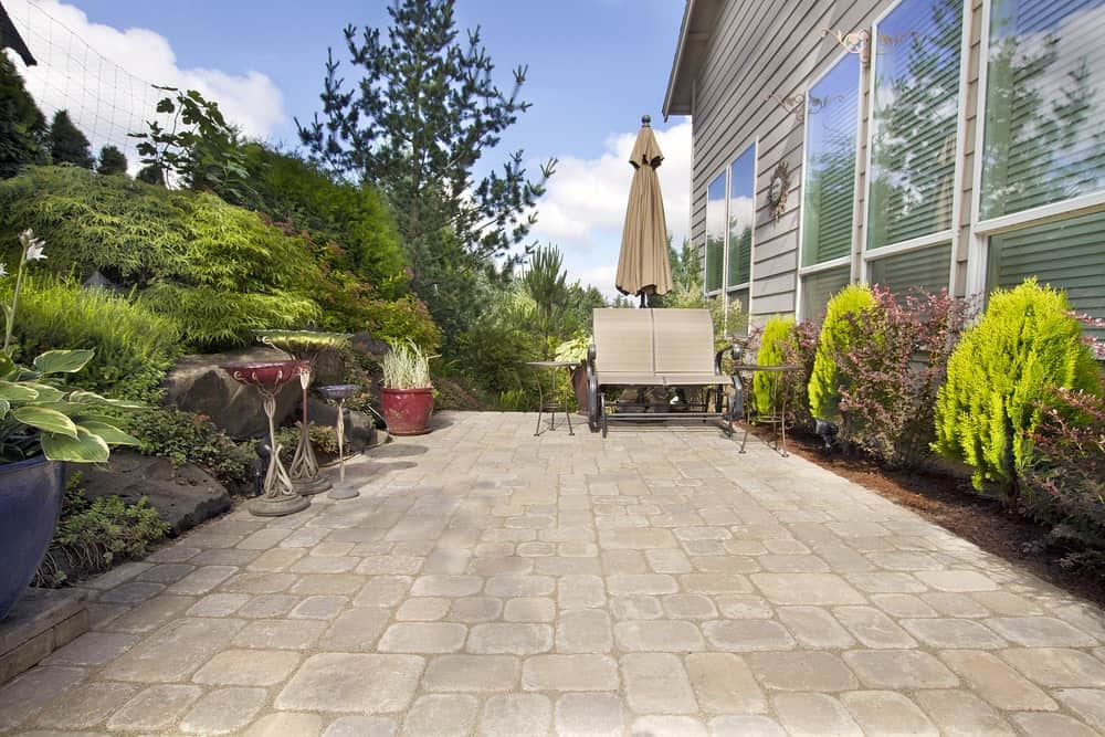 Patio with paver surface.