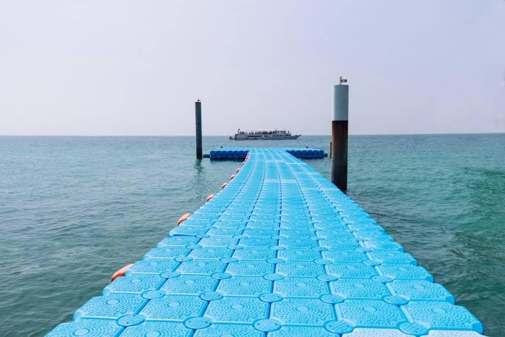 Plastic dock on an ocean.