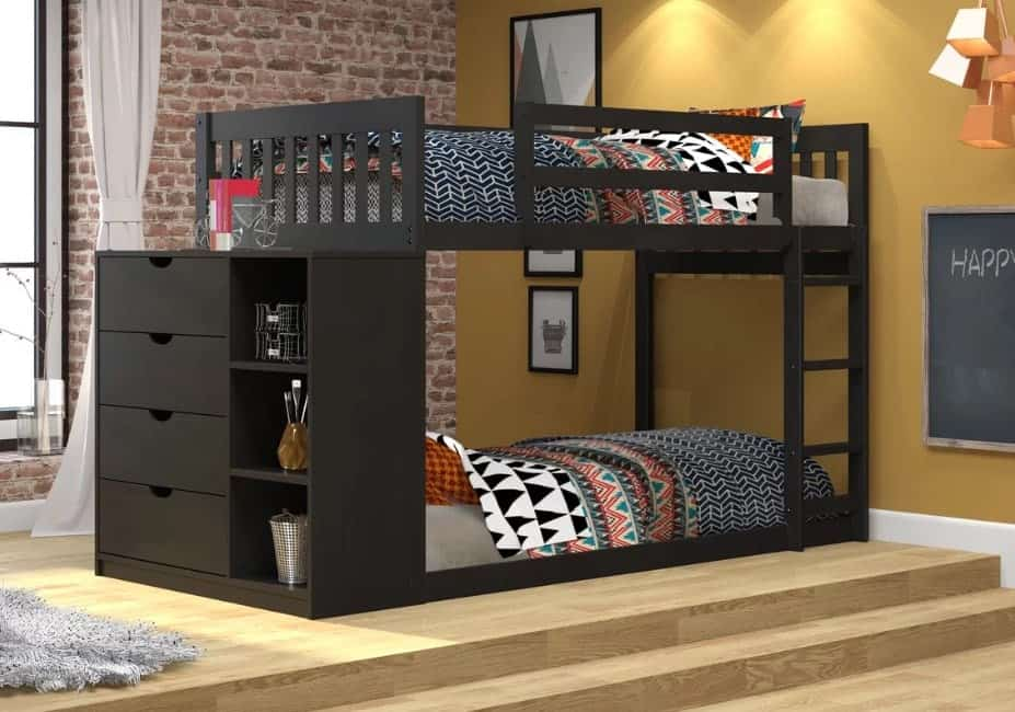 Skewed bunk bed with shelves and drawers.