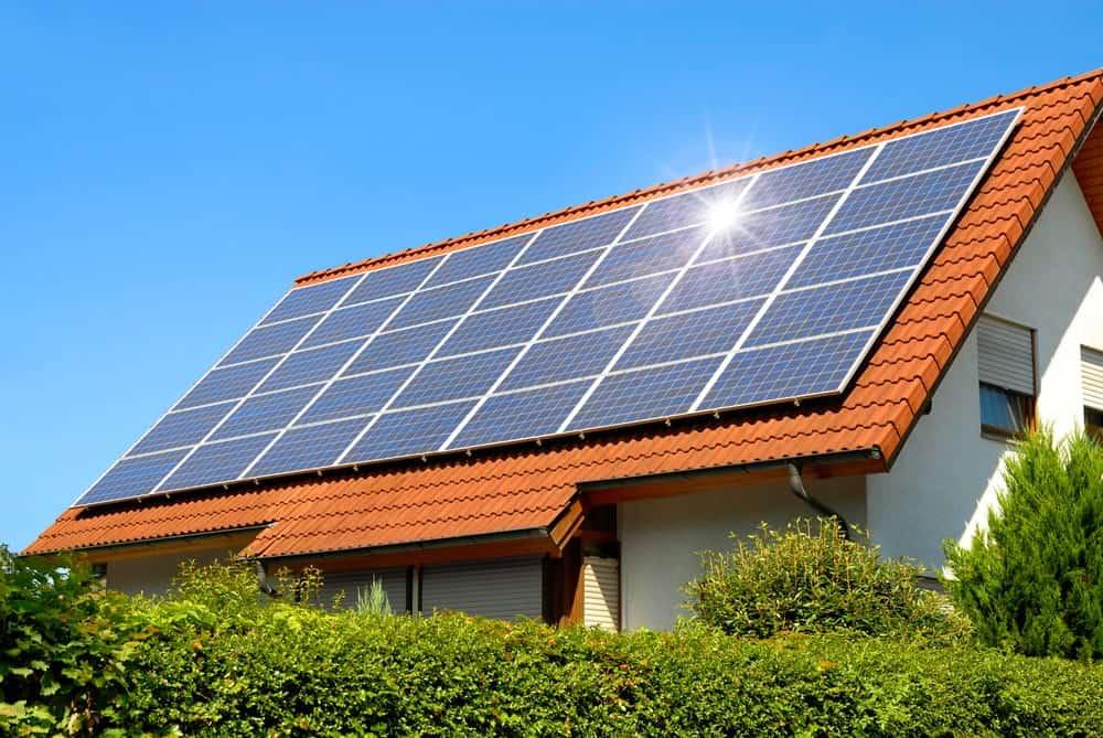 Solar panels on roof shingles.