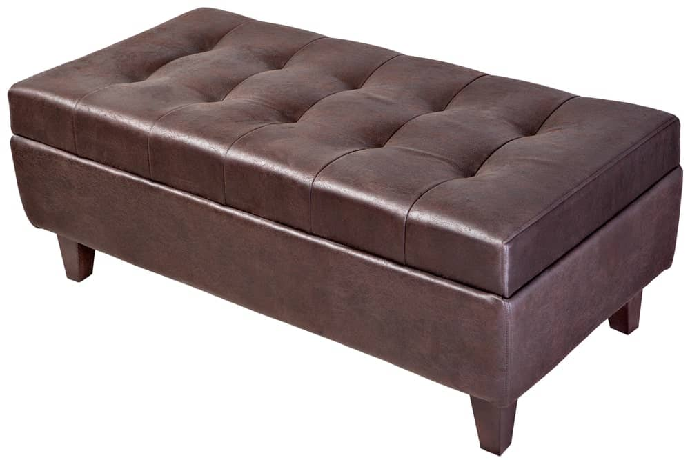 Leather tufted storage bench