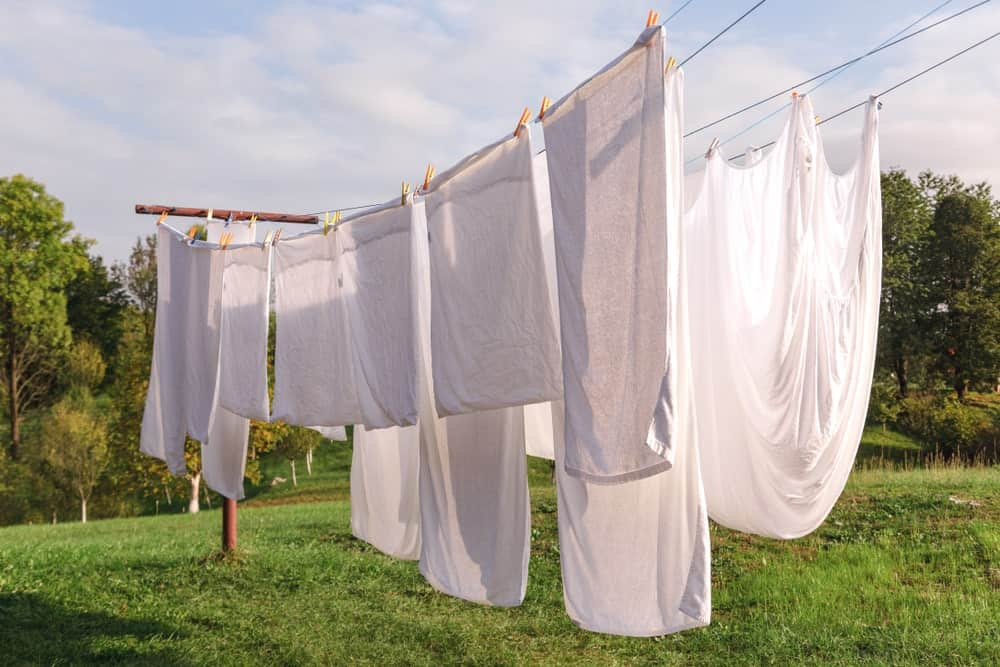 Drying clothes outdoors and on the line.
