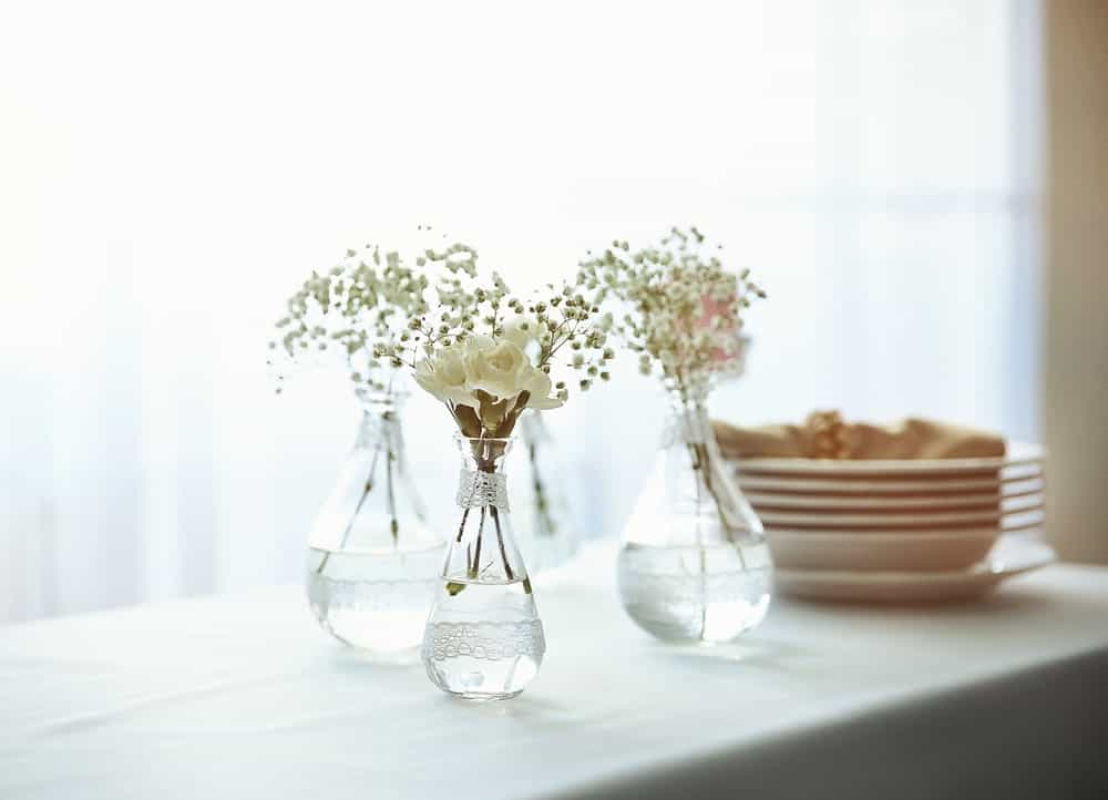 A trio of glass vases filled with water and flowers.