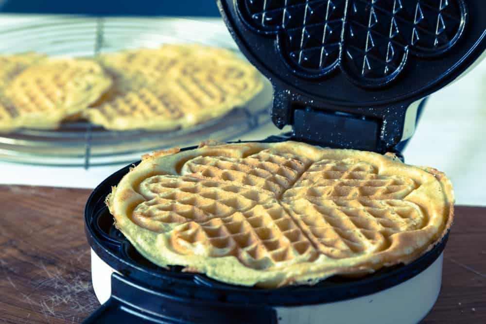 Homemade waffle cooked from the waffle iron.