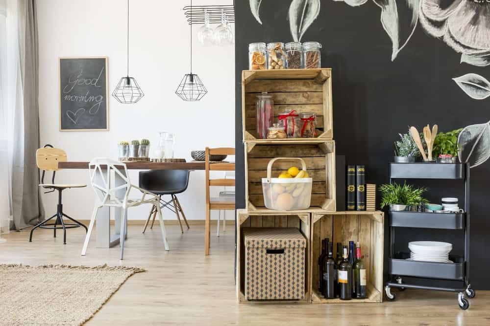 Open space eat-in-kitchen with storage crates.