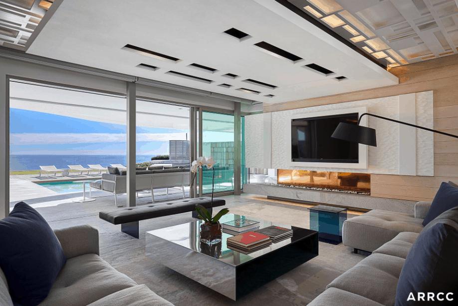 The Mediterranean Midsummer Family Room has a beachside resort feel
