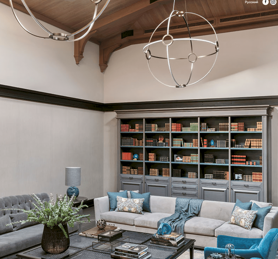 This Eclectic Style Family Room is the perfect abode for a modern art lover