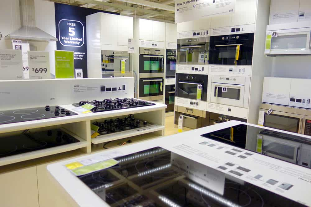 All types of appliances in appliance store
