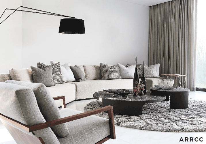 The Hollywood-style Monochrome Room is all about black, white and silver hues