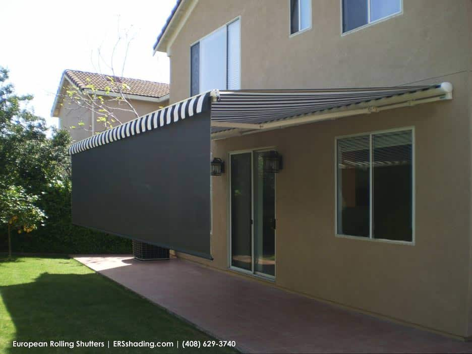 Awning with a dropshade