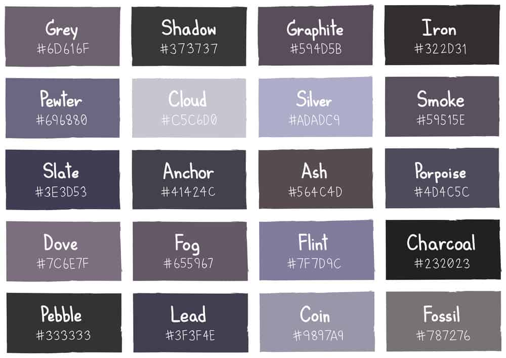 Gray color chart for gray bathrooms