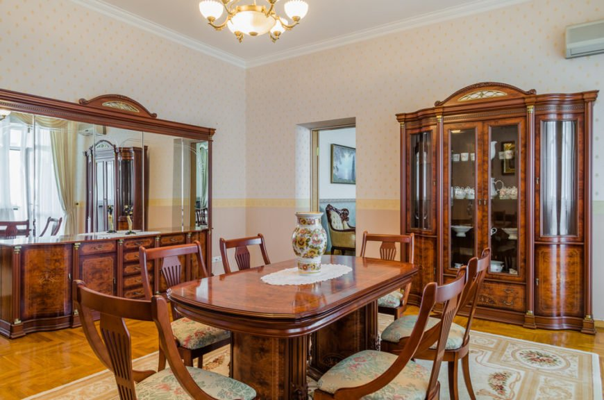 antique dining table in dining room