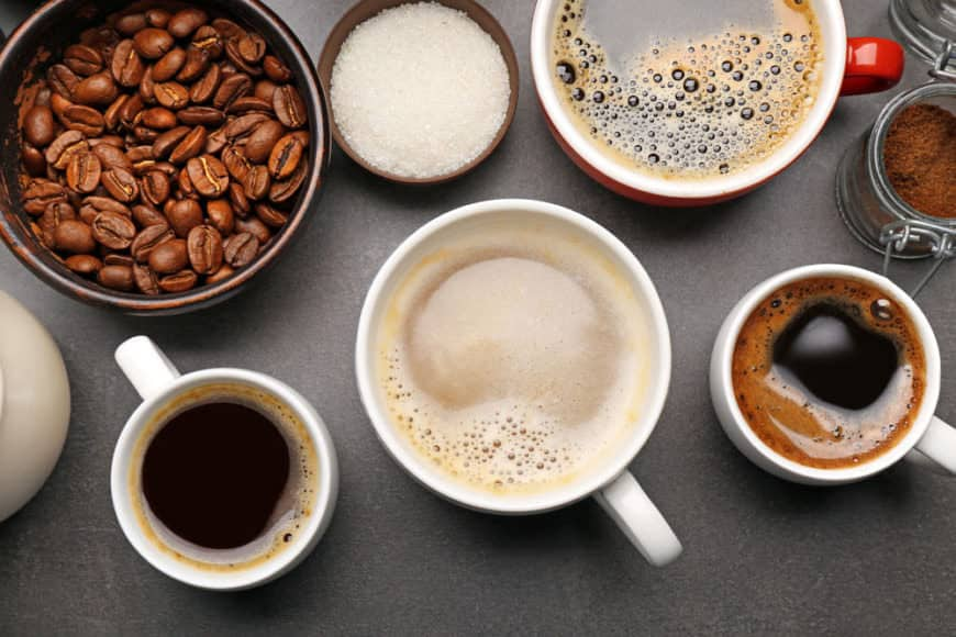 Photo showing the different types of coffee