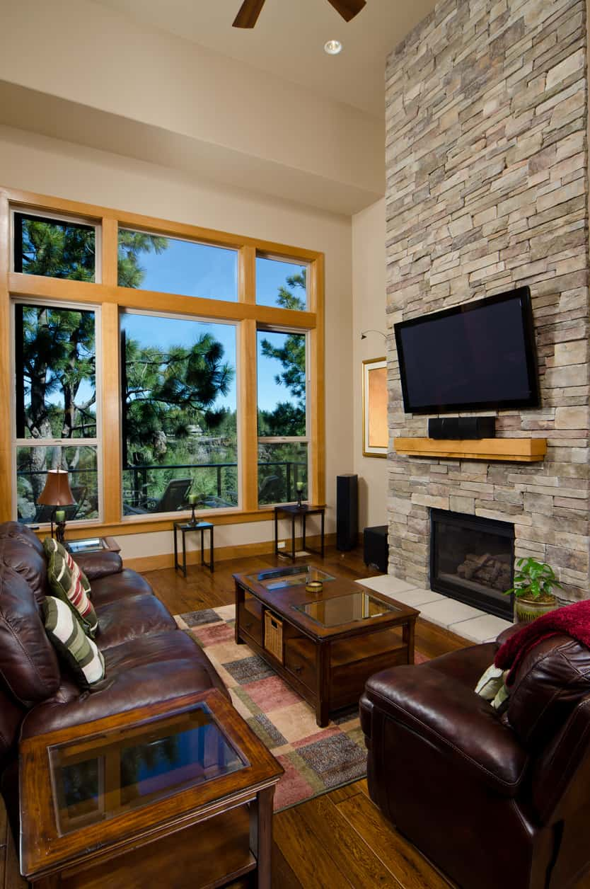 The deep, brownish tone gives the Cozy Cocoon Family Room a warm rustic feel