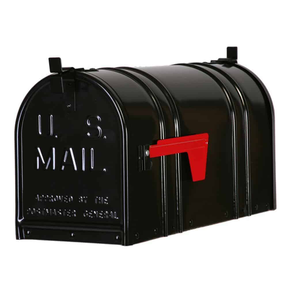 Mailbox with interlocking latches.