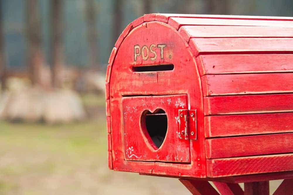 Red wood mailbox