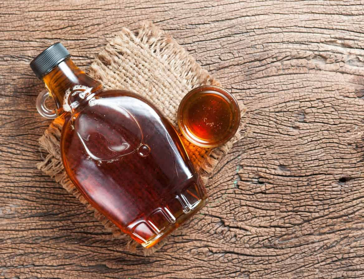 Maple syrup in a bottle