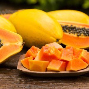 Sliced ripe papaya in a plate