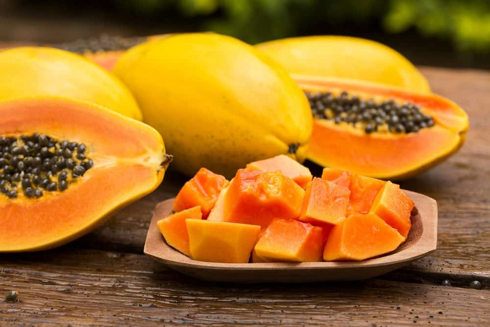 Sliced ripe papaya in a plate