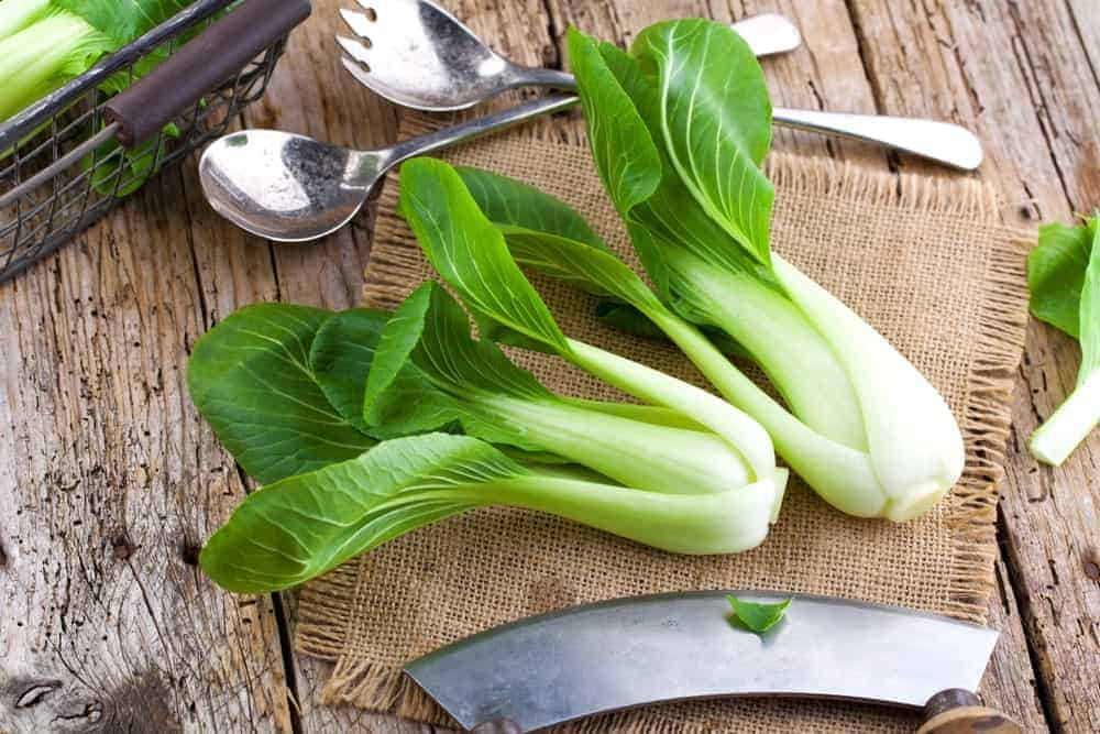 Bok Choy on a rustic background.
