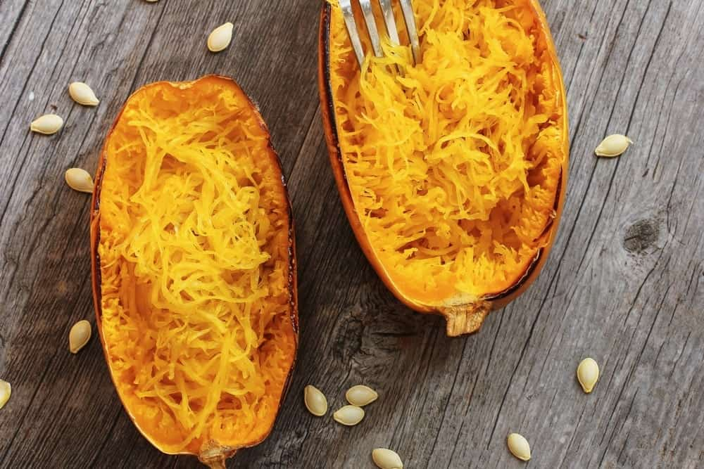 Spaghetti Squash on a dark wooden table