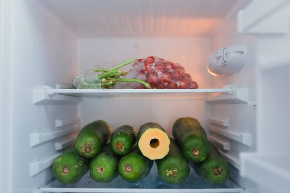 Papayas in refrigerator