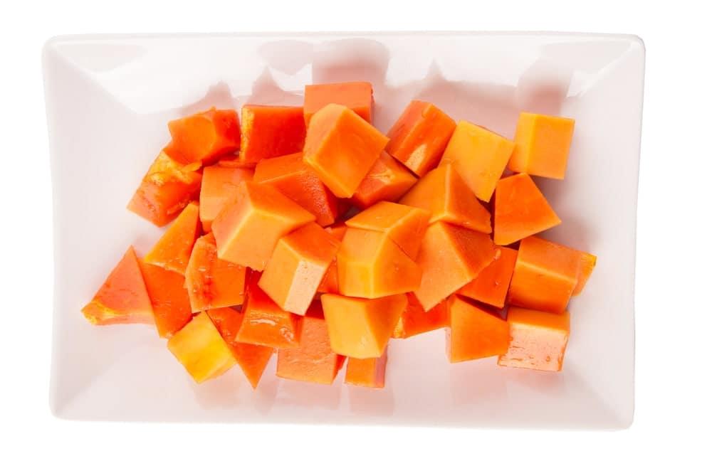 Cubes of papaya