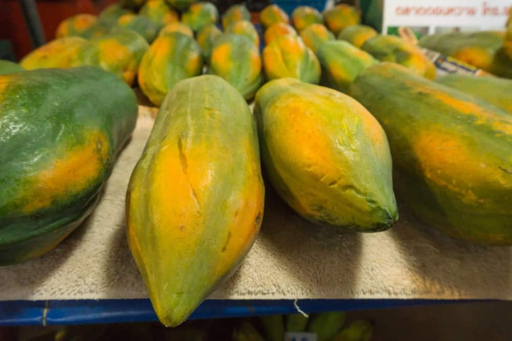 Papayas for sale in the market