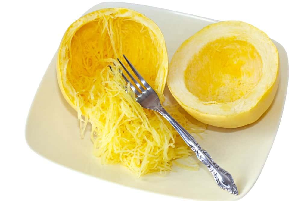 Spaghetti squash split in halves