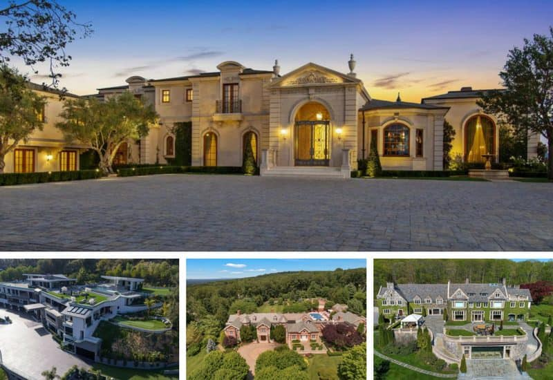 Collage of four mega mansions.