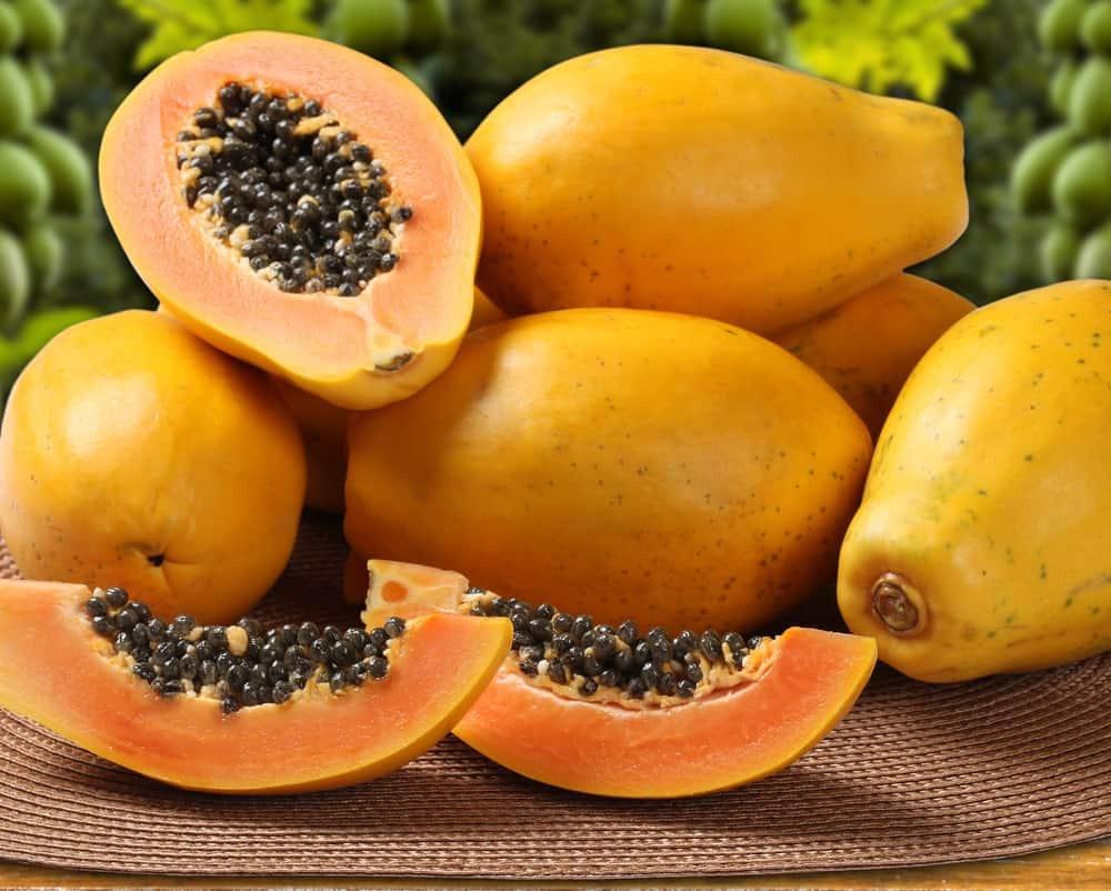 Bunch of ripe yellow papayas