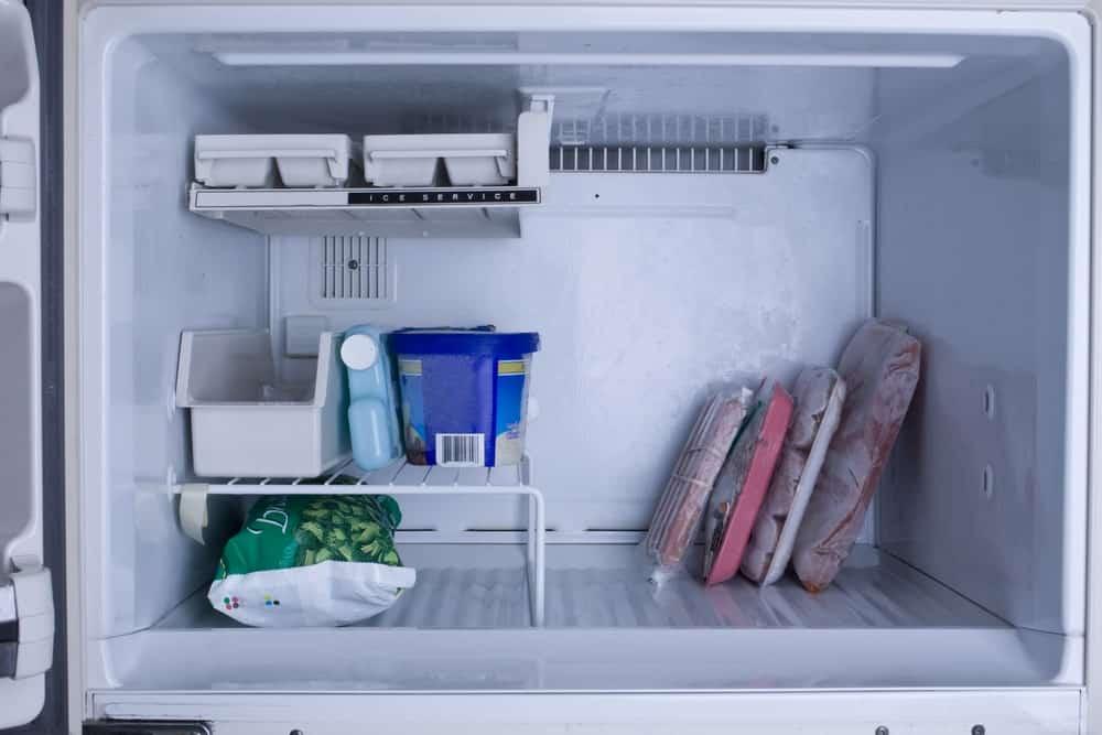 Frozen goods in a freezer.