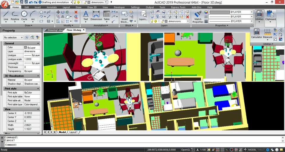 Colorful floor plan of house on ACTCAD software