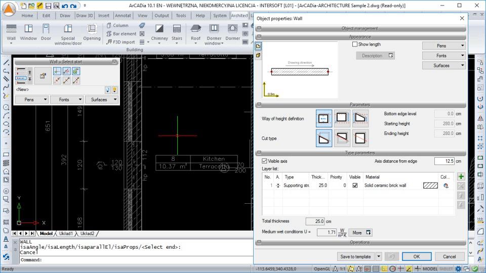 : Architecture design software interface