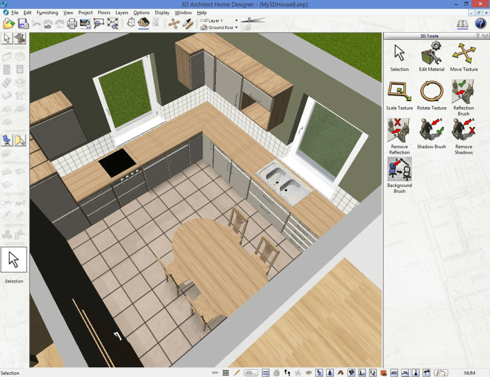 Basic kitchen outline made on arconevo software