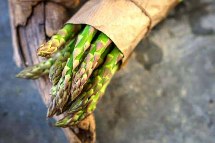 Asparagus enclosed in a brown covering