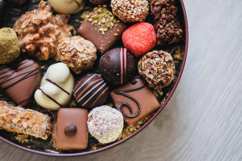 Handmade chocolate truffles in a tin