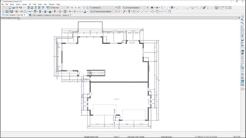 Sketch of floor outline done on Chief Architect