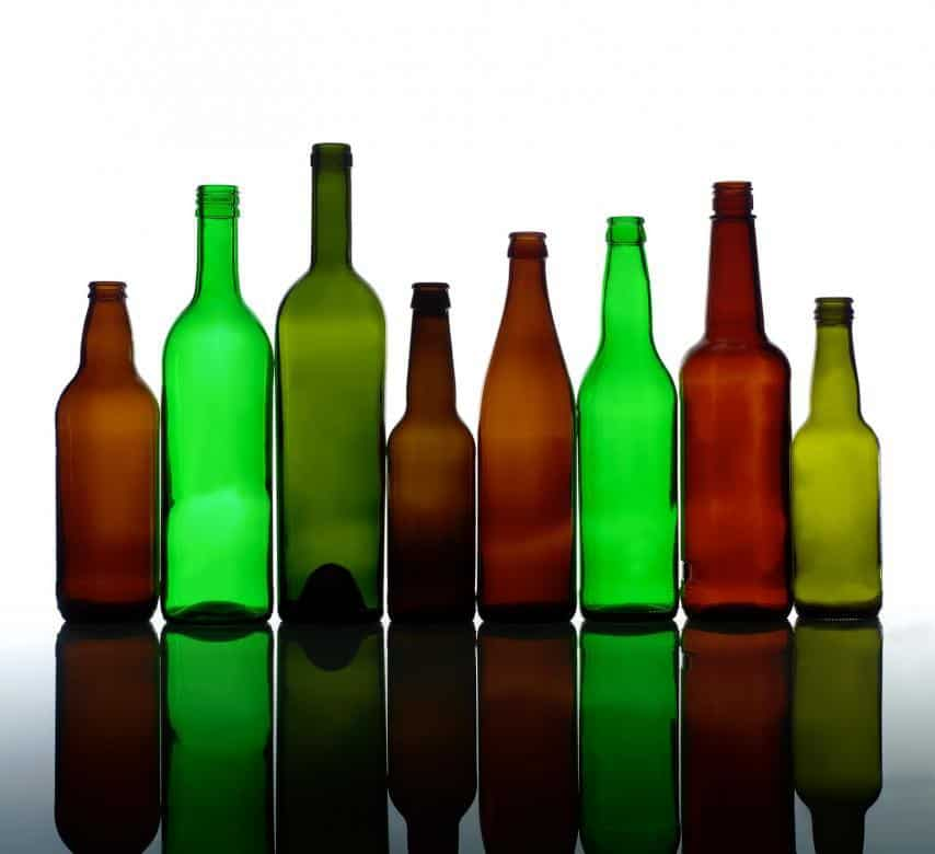 Different glass bottles for storage