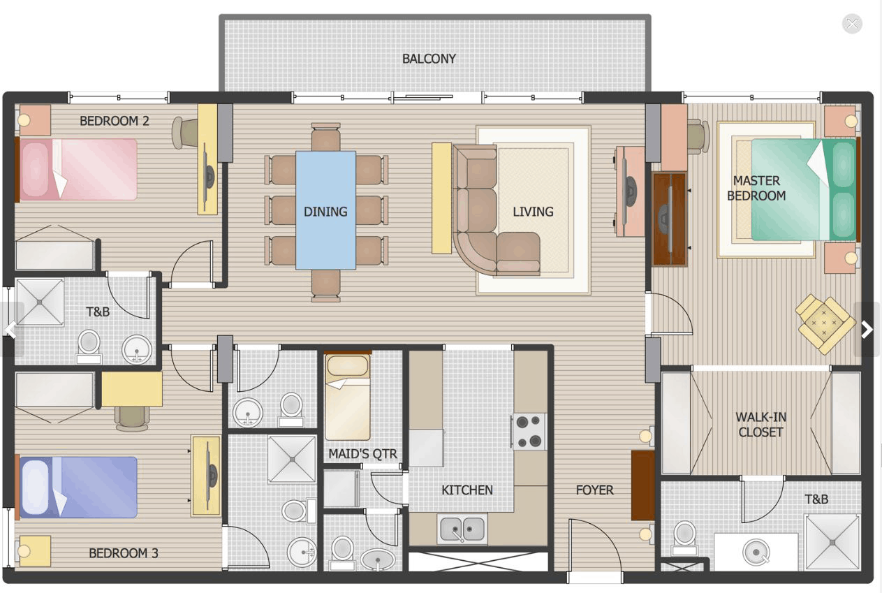 Detailed layout of an apartment floor plan with balcony
