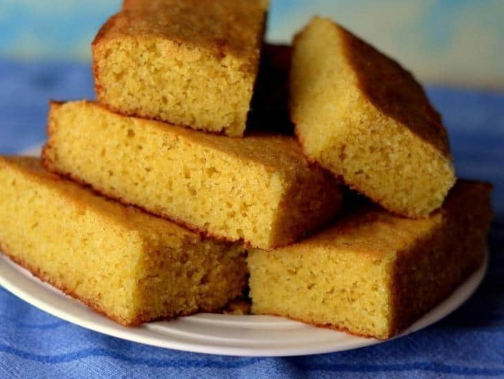 Stack of cornbread on a plate
